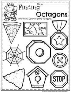 Octagon Worksheets for Preschool #preschoolworksheets #2dshapes #shapesworksheets #planningplaytime
