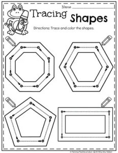 Preschool 2D Shapes Tracing Worksheets #preschoolworksheets #2dshapes #shapesworksheets #planningplaytime
