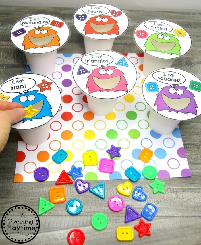 Preschool Shapes Activities - Shape Monster Cups #preschoolprintables #2dshapes #2dshapesprintables #planningplaytime