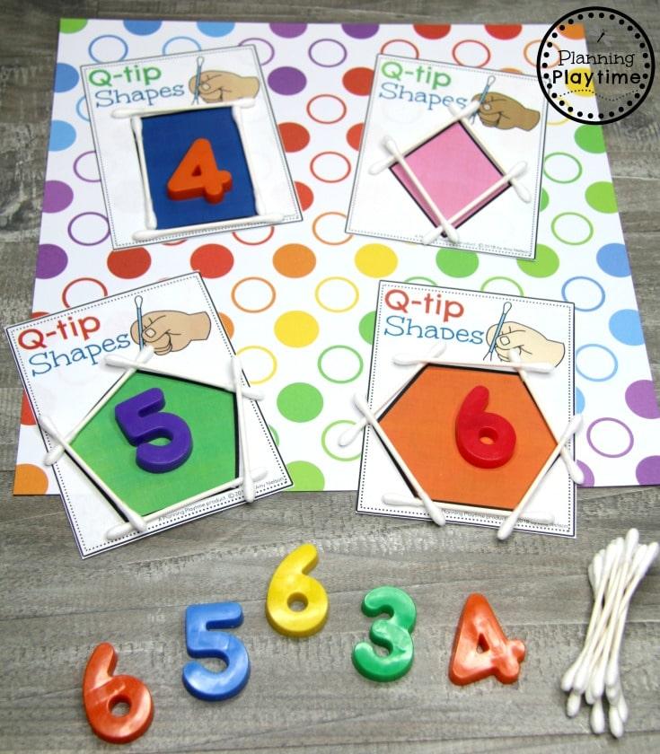 Preschool Shapes Activities - q-tip shape building #preschoolprintables #2dshapes #2dshapesprintables #planningplaytime