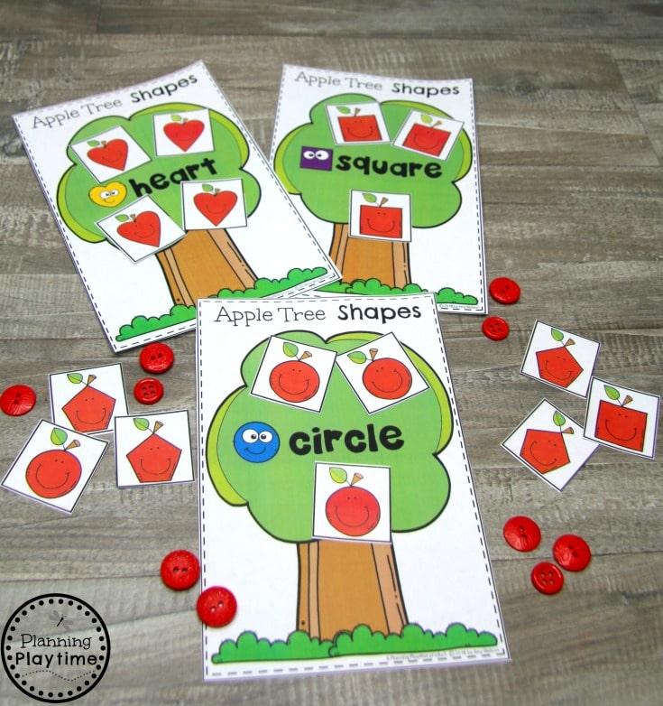 Preschool Shapes Printables - Apple tree Shapes #preschoolprintables #2dshapes #2dshapesprintables #planningplaytime