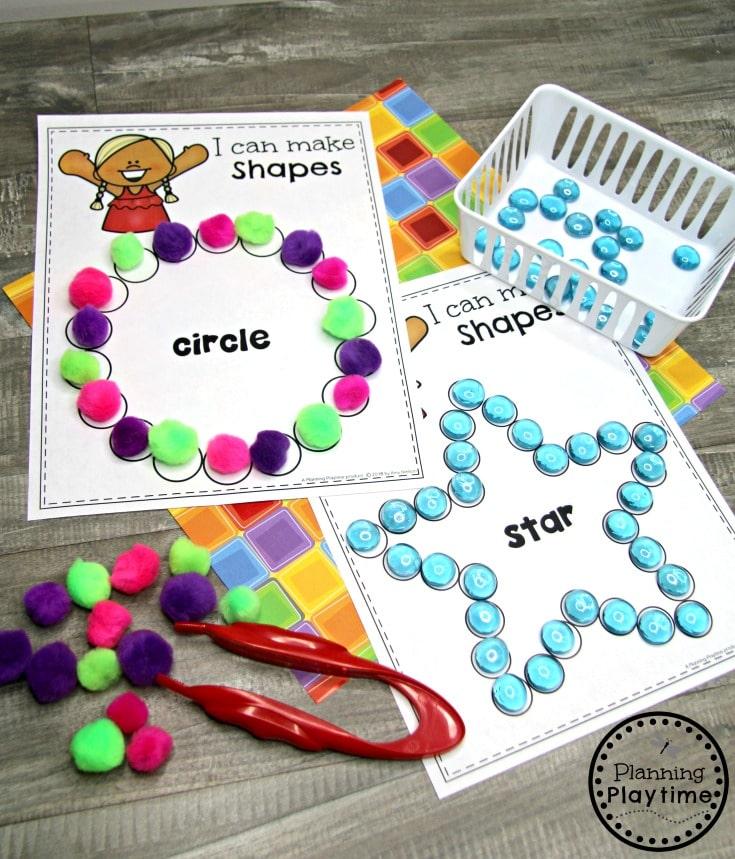 Preschool Shapes Printables - Making Shapes Fine Motor Activity #preschoolprintables #2dshapes #2dshapesprintables #planningplaytime