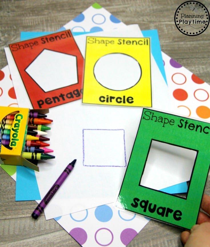 Preschool Shapes Printables - Shapes Stencils #preschoolprintables #2dshapes #2dshapesprintables #planningplaytime