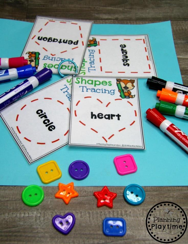 Preschool Shapes Printables - Shapes Tracing Cards #preschoolprintables #2dshapes #2dshapesprintables #planningplaytime