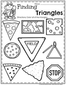 Triangles Worksheets for Preschool #preschoolworksheets #2dshapes #shapesworksheets #planningplaytime