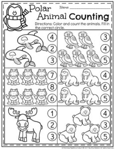 Polar Animals Preschool Counting Worksheets #arcticanimals #preschoolworksheets #planningplaytime #countingworksheets