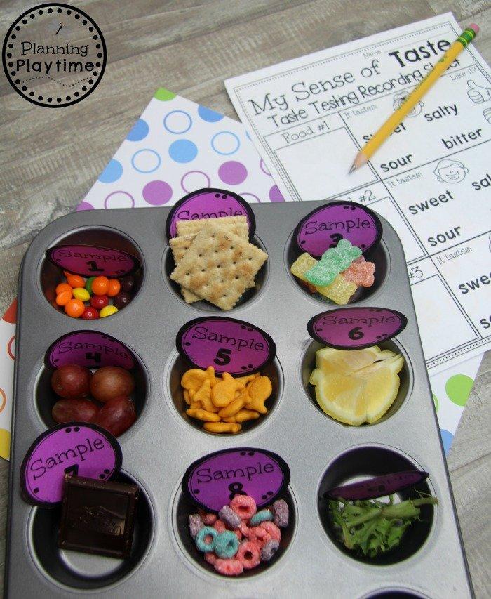 Preschool 5 Senses Activity - Sense of Taste #5senses #preschoolthemes #preschoolcenters #planningplaytime