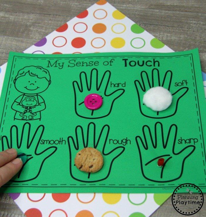Sense of Touch Craft for Preschool - 5 Senses #5senses #preschoolthemes #preschoolcenters #planningplaytime