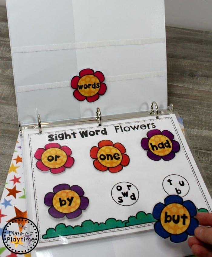 Kindergarten Sight Words Activities - Interactive Binder #planningplaytime #sightwords #kindergarten #kindergartenworksheets #literacycenters