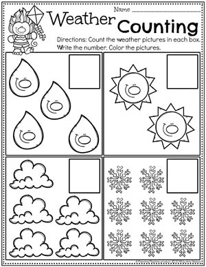 Preschool Counting Worksheets - Weather Theme #planningplaytime #weathertheme #preschoolworksheets #countingworksheets