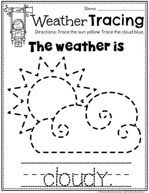 Preschool Weather Worksheets - Cloudy Day Tracing #planningplaytime #weathertheme #preschoolworksheets