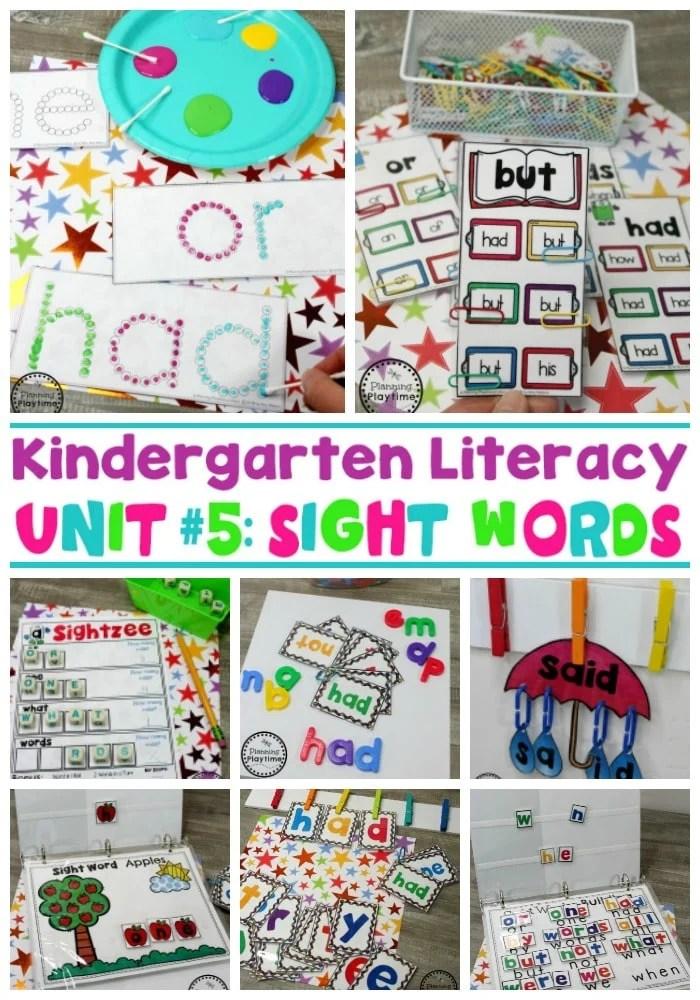Sight Words Worksheets and Activities #planningplaytime #sightwords #kindergarten #kindergartenworksheets #literacycenters
