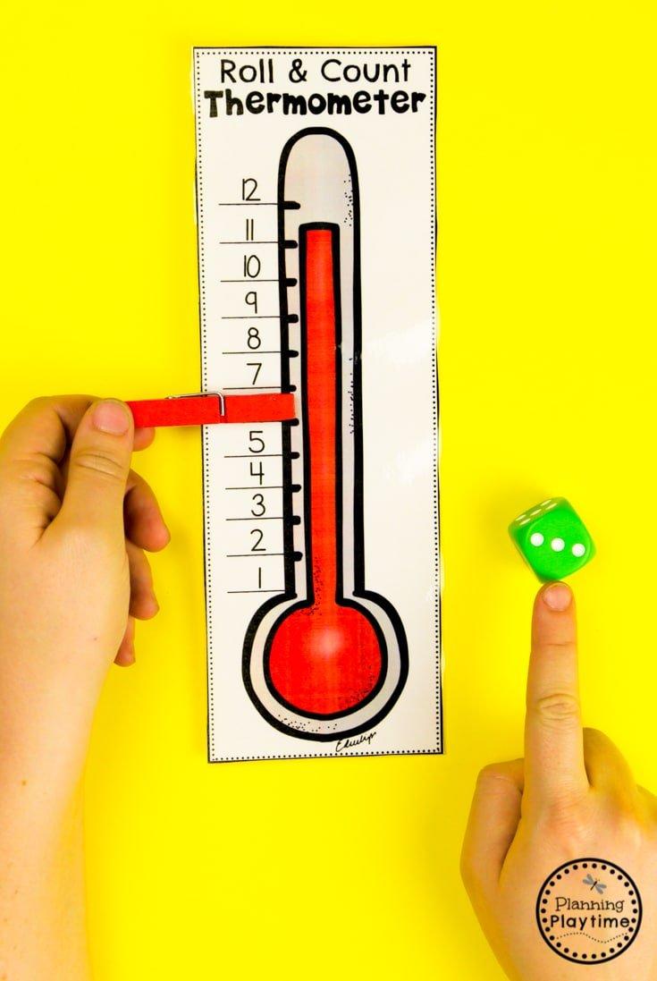Weather Activities Math Game for Preschool #planningplaytime #weathertheme #preschoolactivities #preschoolworksheets #springworksheets