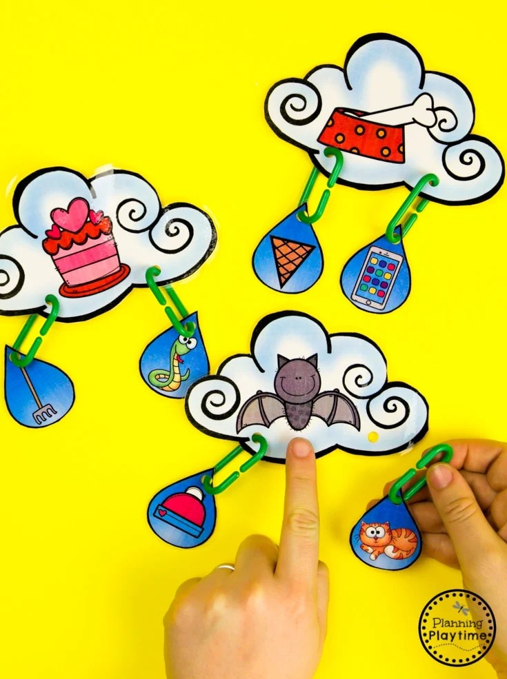 Weather Activities - Rhyming Word Clouds #planningplaytime #weathertheme #preschoolactivities #preschoolworksheets #springworksheets