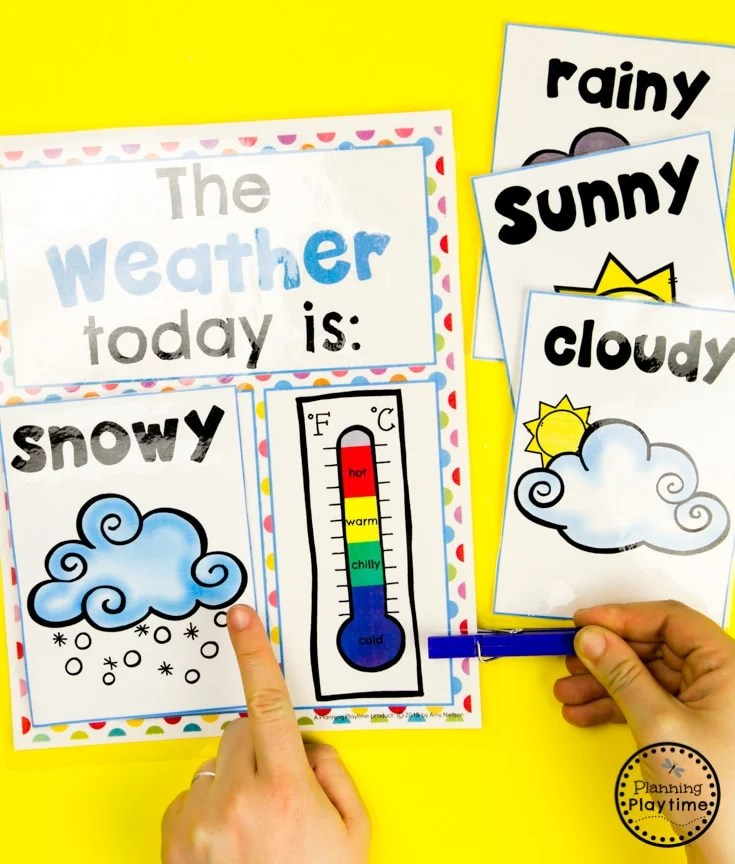 Weather Chart for Preschool #planningplaytime #weathertheme #preschoolactivities #preschoolworksheets #springworksheets