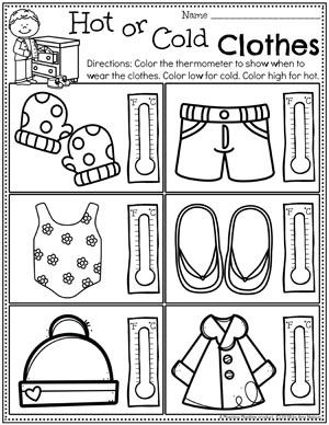Weather Worksheets for Preschool - Hot or Cold Clothes #planningplaytime #weathertheme #preschoolworksheets #springworksheets