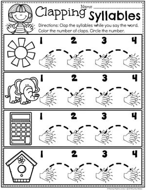 Clapping Syllables Worksheet for Kindergarten