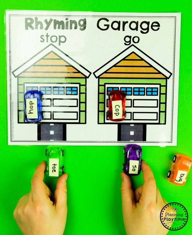 Rhyming Words Activities - Rhyming Garage. Drive the rhyming cards in and park. #planningplaytime #rhymingwords #kindergartenworksheets #rhymingworksheets #literacyworksheets