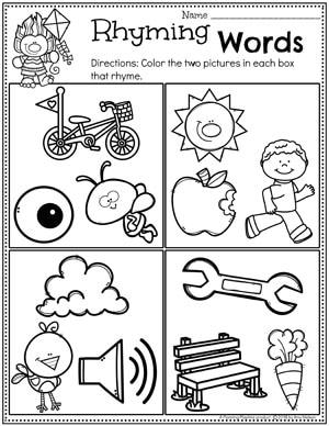 Rhyming Words Worksheets for Preschool or Kindergarten #planningplaytime #rhymingwords #kindergartenworksheets #rhymingworksheets #literacyworksheets
