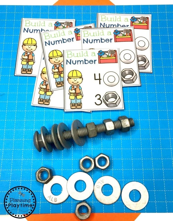 Addition Game for Preschool - Construction Theme #constructiontheme #preschool #preschoolworksheets #planningplaytime