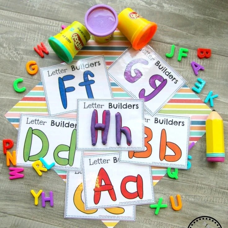 Alphabet Letter Cards - Make it with Playdough. Back to School Preschool Theme.