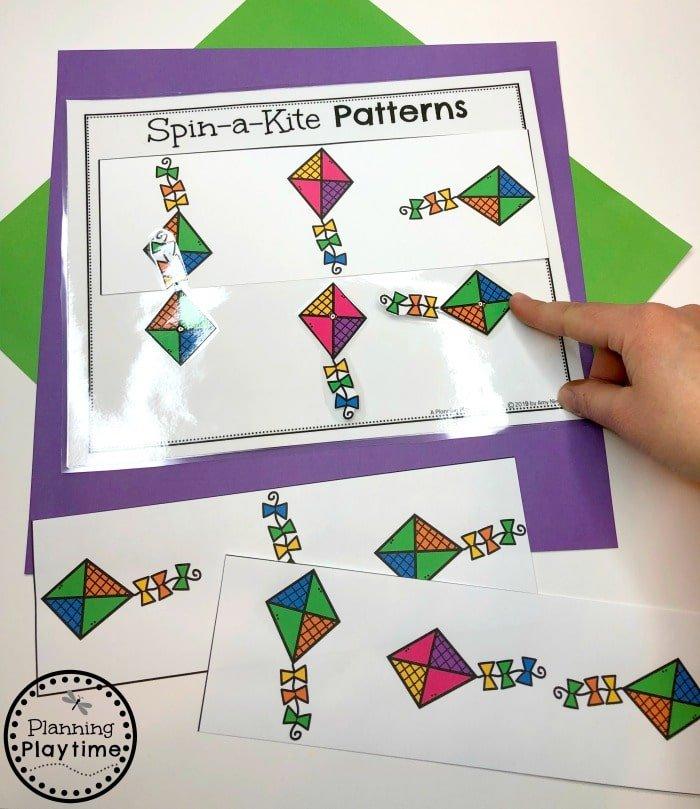 Preschool Patterns Game - Spin to Match Kites