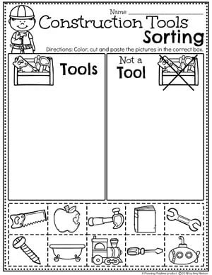 Preschool Sorting worksheets - Construction theme #constructiontheme #preschool #preschoolworksheets #planningplaytime