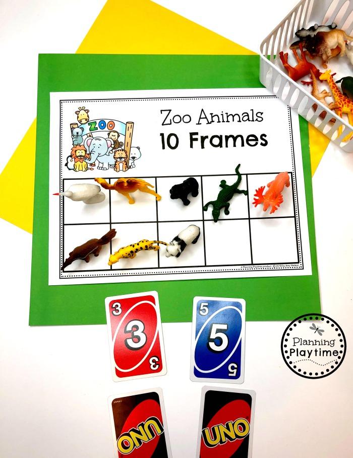 Preschool Zoo Theme - 10 Frames math Games #zootheme #preschool #preschoolworksheets #planningplaytime