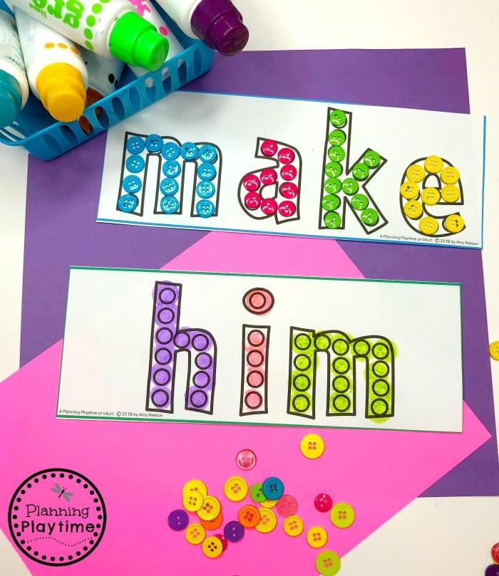 Sight Words Activities for Kids #sightwords #kindergartenworksheets #sightwordsworksheets #planningplaytime