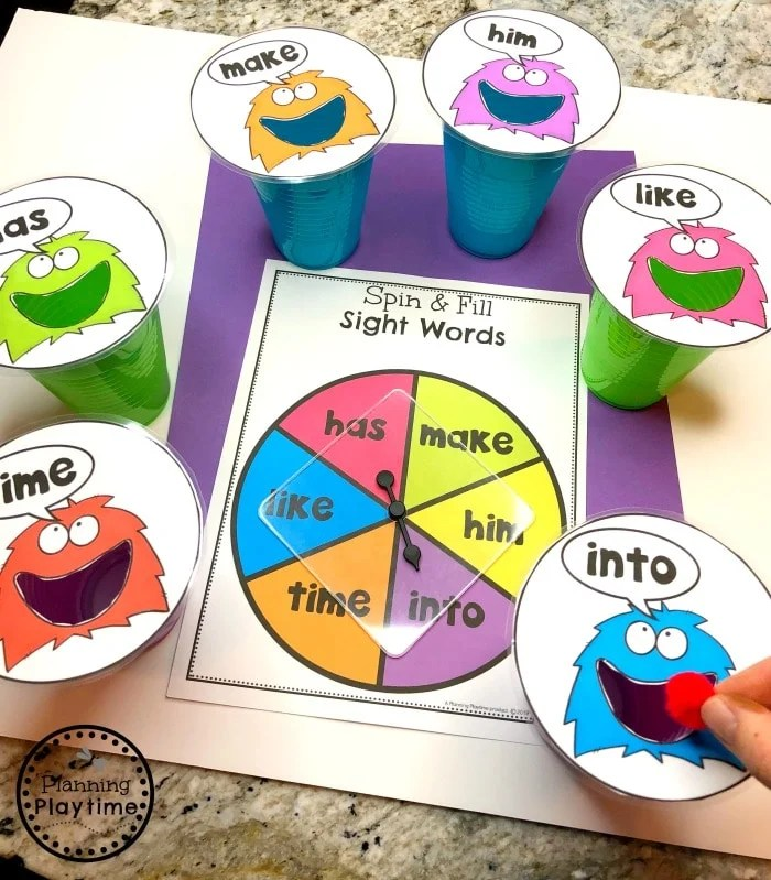 Sight Words Game - Spin and Feed Word Monsters #sightwords #kindergartenworksheets #sightwordsworksheets #planningplaytime