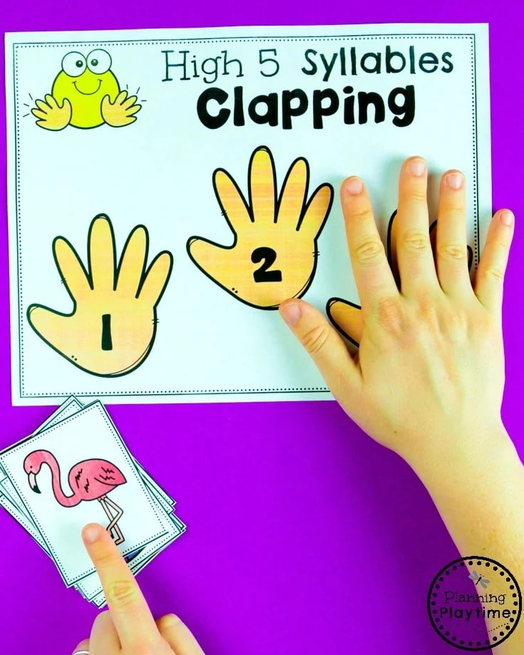 Syllables Clapping Game - High Five Syllables #syllables #syllablesworksheets #kindergartenworksheets #planningplaytime