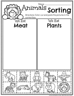 Zoo Animal Sorting Worksheets - Sorting by Characteristics 2 #zootheme #preschool #preschoolworksheets #planningplaytime