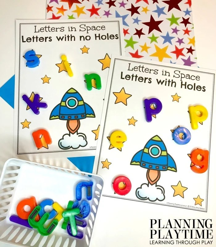 Letter Sorting Preschool Activities - Letters with holes or no holes. #spacetheme #preschoolworksheets #preschoolactivities #preschoolprintables #planningplaytime #letterworksheets #alphabetworksheets