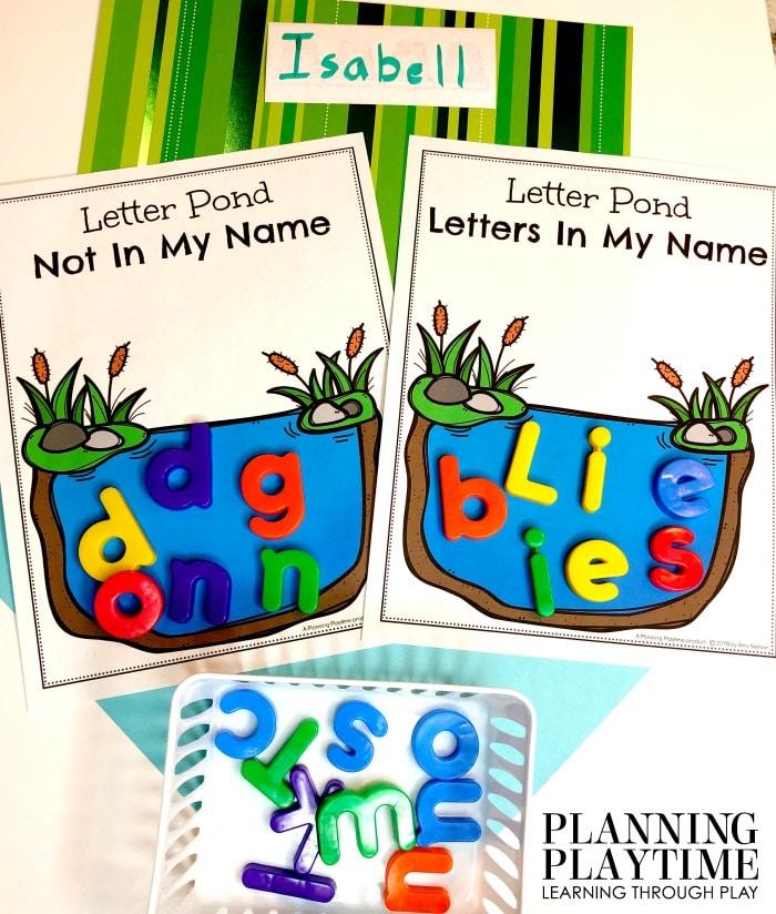 Preschool Activities Alphabet - Sorting letters in my name. #preschool #preschoolworksheets #pondtheme #planningplaytime #alphabetactivities
