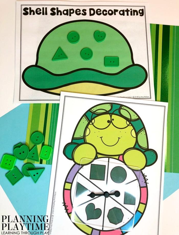Preschool Activities Shapes - Turutle Shell Decorating Pond theme activity #preschool #preschoolworksheets #pondtheme #planningplaytime #shapesactivities #preschoolmath #preschoolshapes