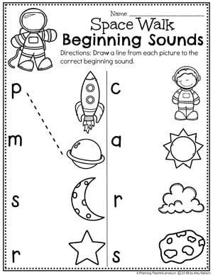 Preschool Beginning Sounds Worksheets - Preschool Worksheets for a Space Theme #spacetheme #preschoolworksheets #preschoolactivities #preschoolprintables #planningplaytime #beginningsounds