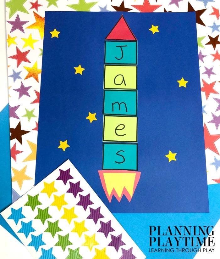 Preschool Name Craft - Rocket Ship Space Theme #spacetheme #preschoolworksheets #preschoolactivities #preschoolprintables #namecraft