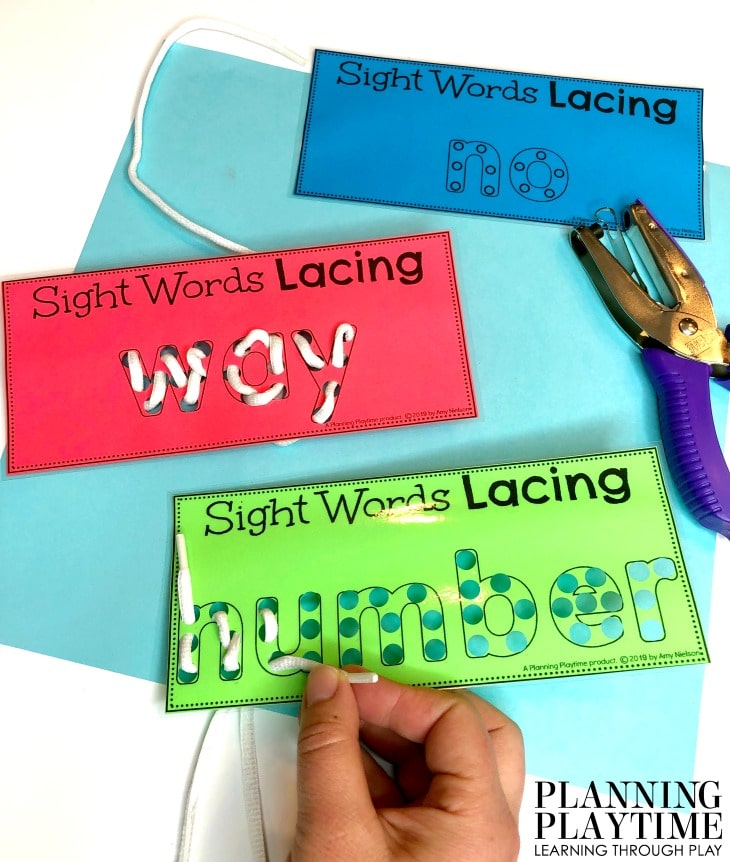 Sight Words Kindergarten Activities, Printables and Worksheets - Lacing Sight Words #sightwords #kindergartenworksheets #kindergartensightwords #planningplaytime