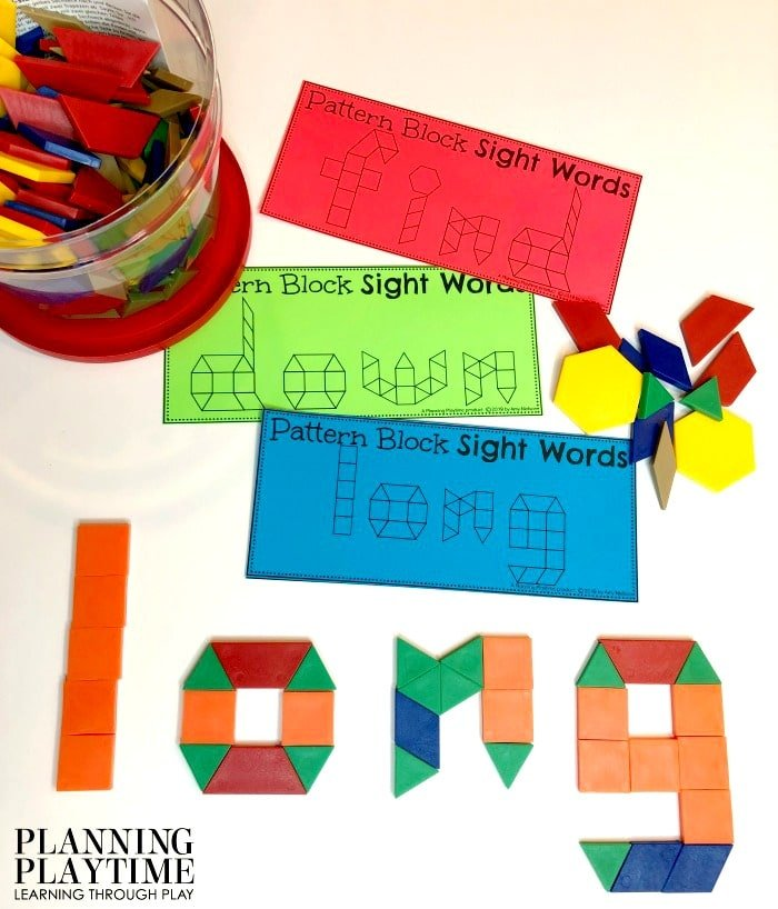 Kindergarten Sight Words Activities, Printables and Worksheets - Pattern Block Sight Words #sightwords #kindergartenworksheets #kindergartensightwords #planningplaytime