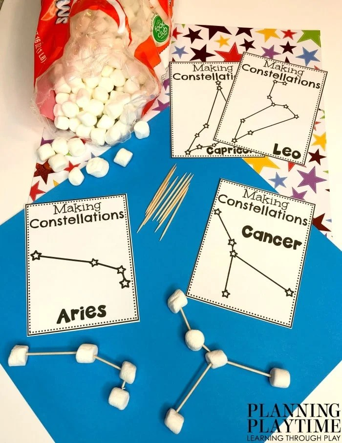 Space Theme Activities - Marshmallow Constelations Activity #spacetheme #preschoolworksheets #preschoolactivities #preschoolprintables #planningplaytime