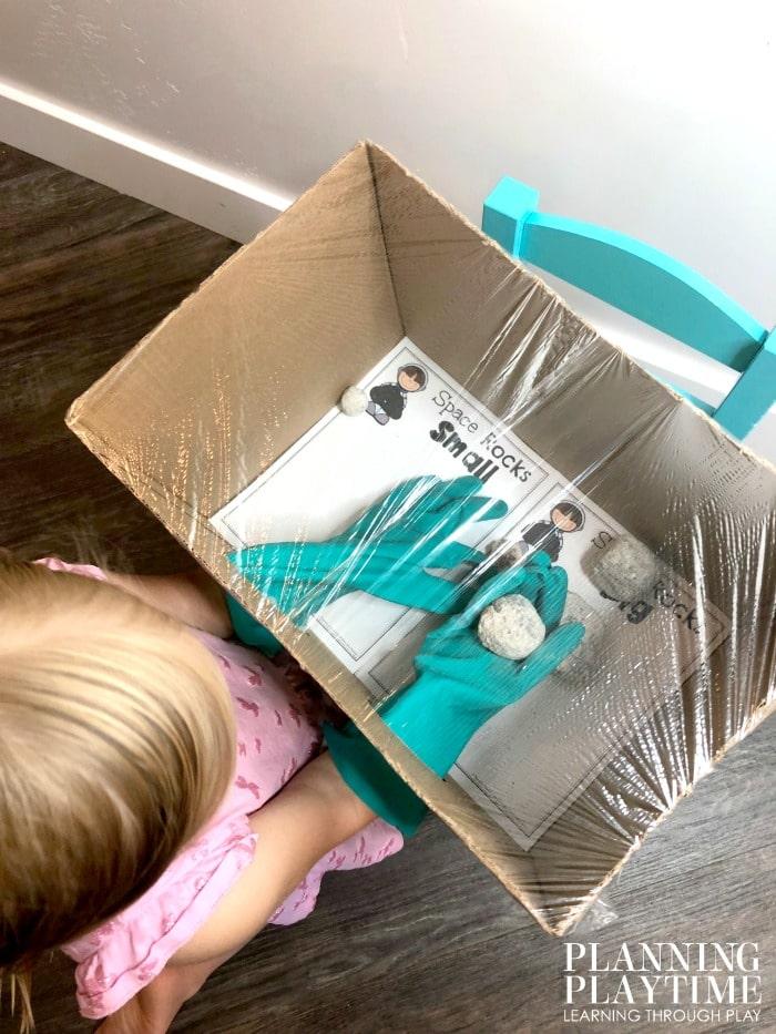 Space Theme Activity for Preschool - Space Rock Exploration box #spacetheme #preschoolworksheets #preschoolactivities #preschoolprintables
