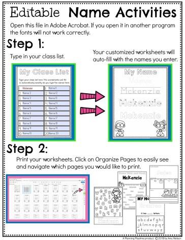 Name Tracing Worksheets and Activities - Editable #preschoolworksheets #nameworksheets #preschoolprintables #nametracing #backtoschool #planningplaytime