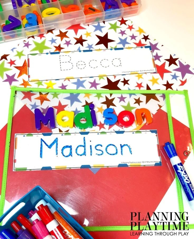 Name Tracing Worksheets for Kids - Editable Name Tracing Cards #preschoolworksheets #nameworksheets #preschoolprintables #nametracing #backtoschool #planningplaytime
