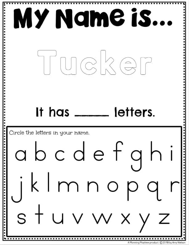 Name Tracing Worksheets for Preschool - Color the Name and find the letters #preschoolworksheets #nameworksheets #preschoolprintables #nametracing #backtoschool #planningplaytime