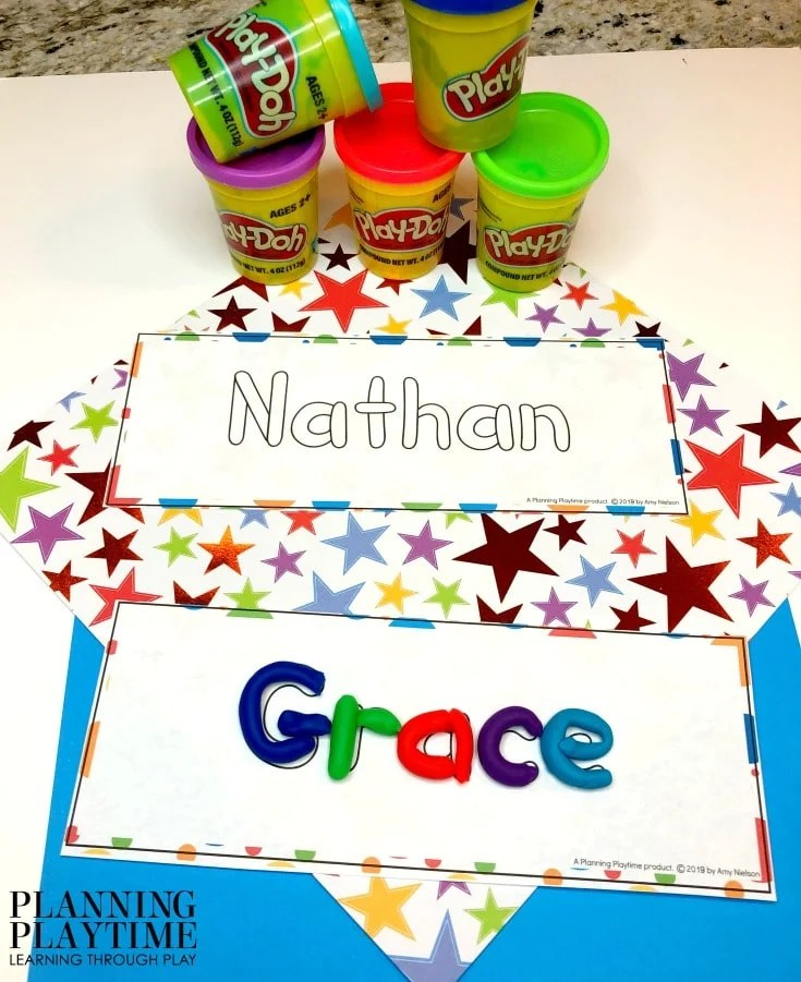 Name Tracing worksheets and Activities for Preschool - Editable Name Playdough Mats #preschoolworksheets #nameworksheets #preschoolprintables #nametracing #backtoschool #planningplaytime