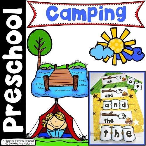 Camping Theme Preschool Cover #preschoolactivities #preschoolprintables #campingtheme #planningplaytime
