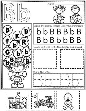 Alphabet Worksheets - B - Letter Tracing Worksheets and activities #preschoolworksheets #preschoolprintables #alphabetworksheets #planningplaytime