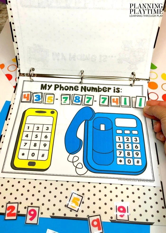 Interactive Binder page with phones and number squares.