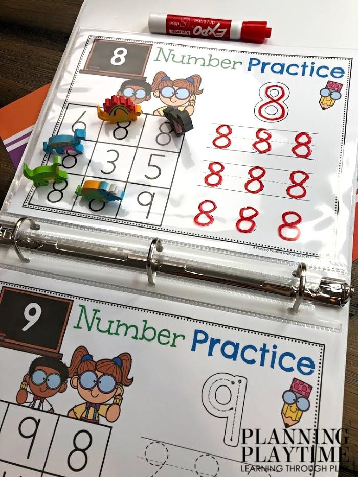 Number Tracing Worksheets for Preschool or Kindergarten