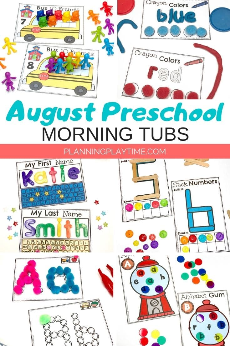 Back to School Preschool Activities - Morning Tubs